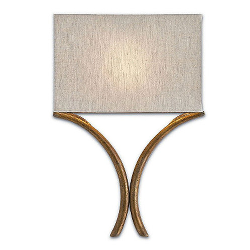 French Gold Modern Shaded Wall Sconce Gold Leaf Finish Linen Shade Included