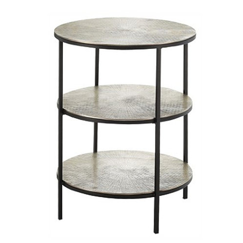 Black and Pewter Tiered Side Table|Black Iron End Table|Rd Pewter Table