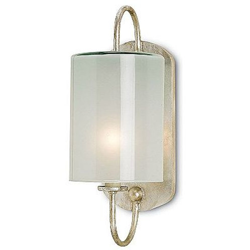 Frosted Shaded Silver Wall Sconce in Iron and Glass|Modern Silver Sconce