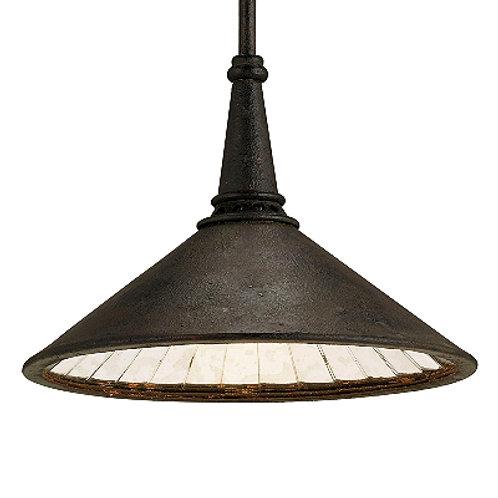 Black Rustic Hanging Pendant in Iron with Mirrored Interior|Island Lighting