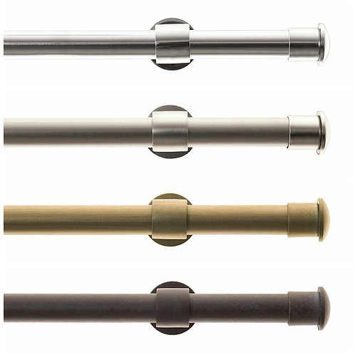 """Metal Drapery Rods 1"""" diameter with End Caps, Choose Color and Rod Length"""