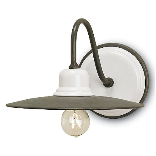 White and Gray Shaded Wall Light in Iron with Ceramic Shade|Farmhouse Light