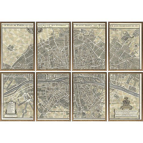 Paris Map in Sections|Eight Framed Maps|Gold Frame|Giclee Print|Bestseller Paris