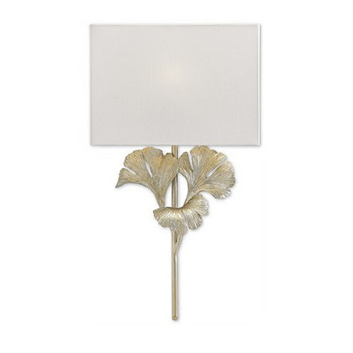 Silver Leaf Modern Shaded Wall Sconce|Chinois Soft Silver Finish|Gingko Leaf