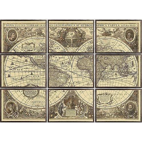 Hemisphere 16th Century Print|Framed Maps|Dark Wood Frame|Giclee|Bestseller