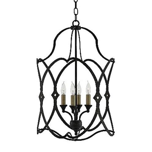 French Black Hanging Open Iron Pendant Lantern Modern Foyer Lantern