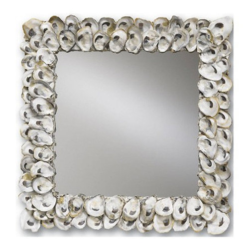 Oyster Shell Square Mirror|Shell Beach Wall Mirror|Natural Shell Decor