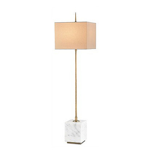Tall Modern Console Lamp|White Marble and Brass Slim Lamp|Brass Linen Shade Lamp