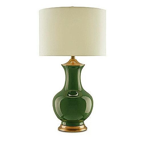 Green Vase Table Lamp|Green Ceramic Bedside Lamp|Shantung Shaded Green Urn Lamp
