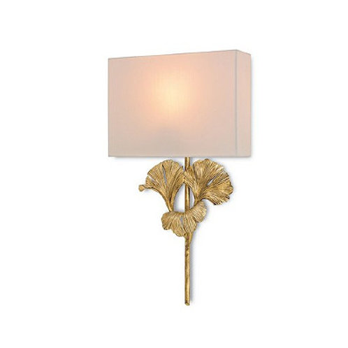 Antique Gold Leaf Modern Shaded Wall Sconce|Chinois Soft Gold Finish