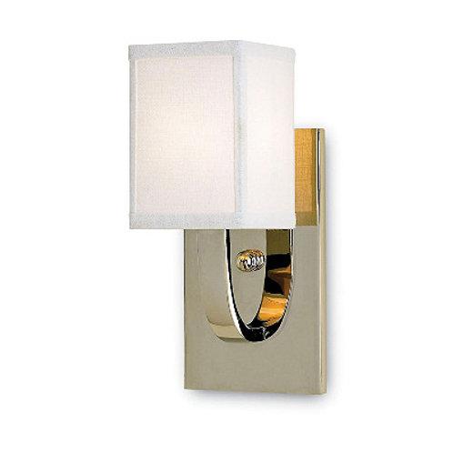 Classic Nickel Wall Sconce|Shiny Finish|Free Shipping|White Linen Shaded