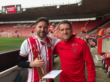 Bumping into Steven Davis (Southampton & Northern Ireland Captain) while playing with Saints Brass before the match