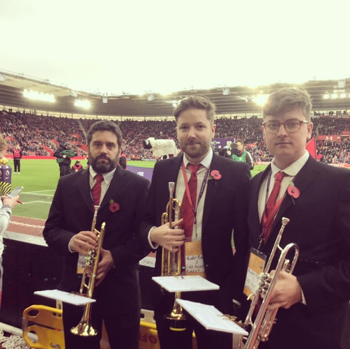 Waiting nervously to play the Last Post at St. Mary's Stadium, Southampton at the Premier League match between Saints and Watford. Capacity - 32,500!!