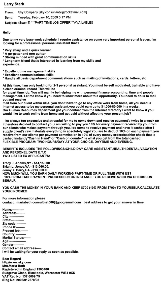 Scam Part Time Job Offer