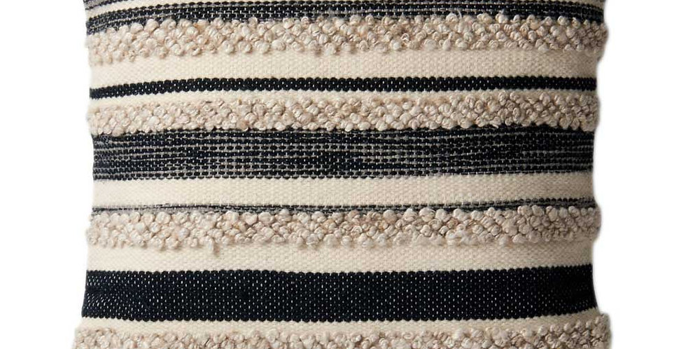 Zander Pillow | Charcoal - Ivory