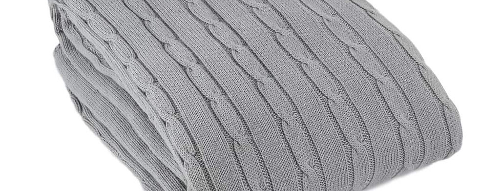 Cable Cotton Knit Throw | Soft Grey