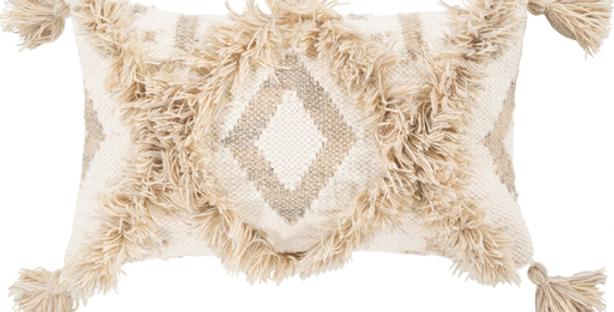 Helena Pillow | White - Khaki