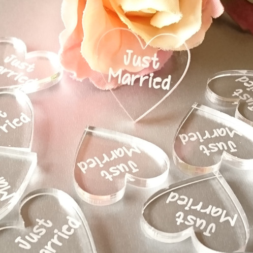 Clear Just Married Wedding Table Confetti Hearts