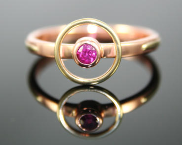 Rose and Yellow Gold with Ruby