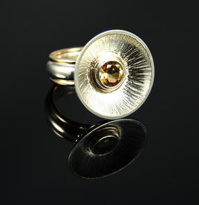 Two tone ring with Citrine