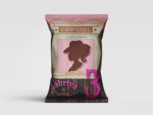 Barbie Cowgirl Inspired Customized Chip Bag (Sold in Quantities of 12)