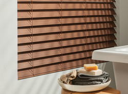 Wood Blinds Up CloseAWB-005h-WoodtoneBathroomDetail