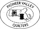 Pioneer Valley Quilt Guild Logo with a needle and thread stitching a star over the Connecticut River/Pioneer Valley