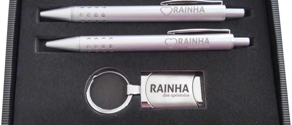 Conjunto de canetas e chaveiro