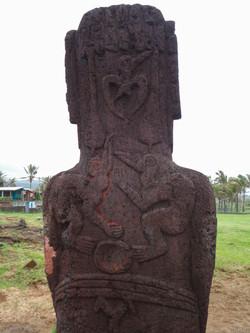 Tangata Manu (bird man) carving in back of moai, Hanga Roa