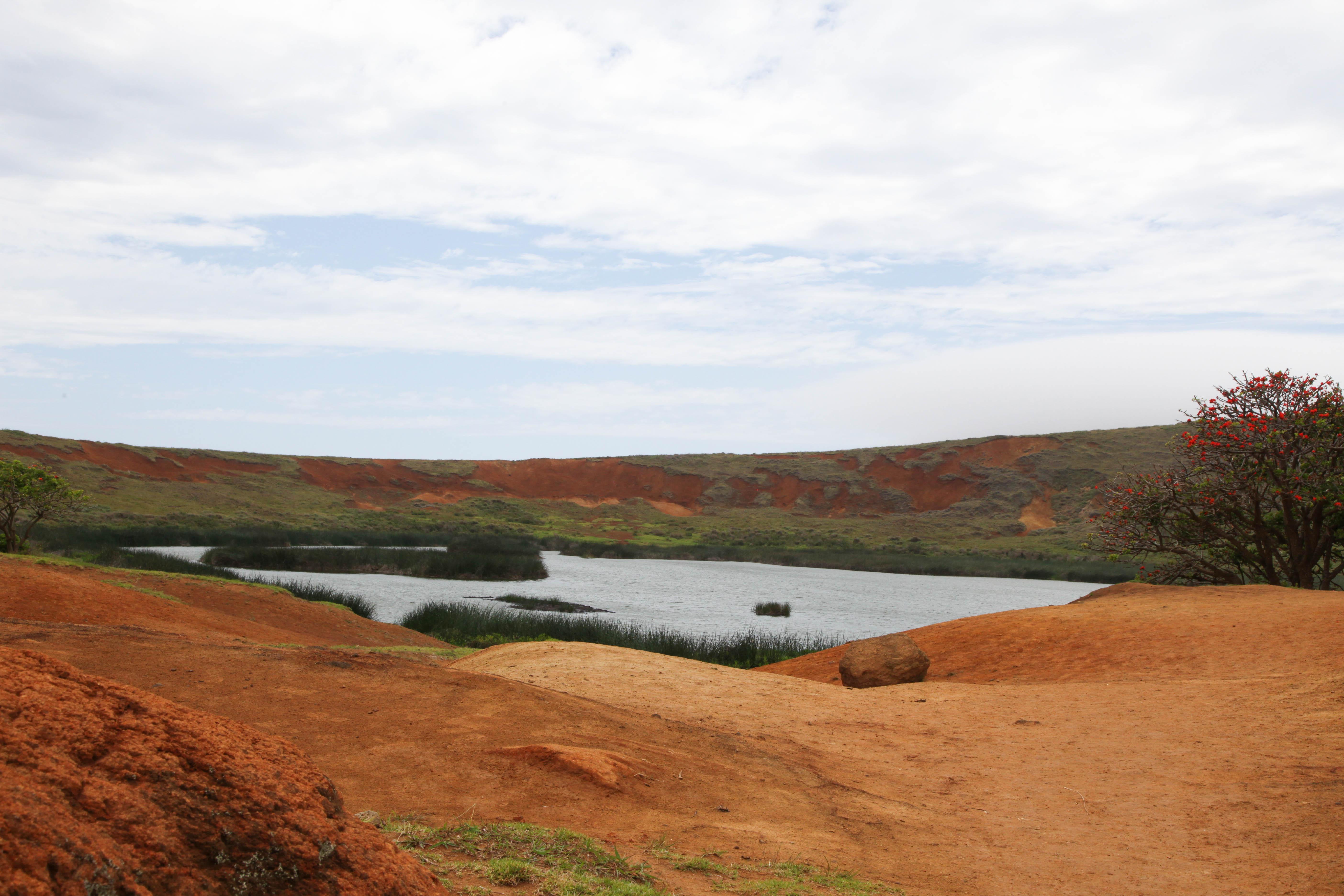 Lagoon in Rano Raraku crater