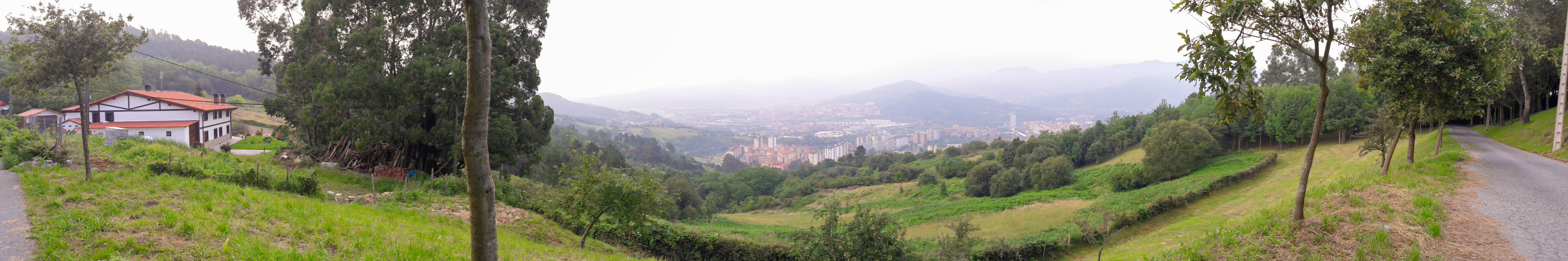 Misty morning view over Bilbao