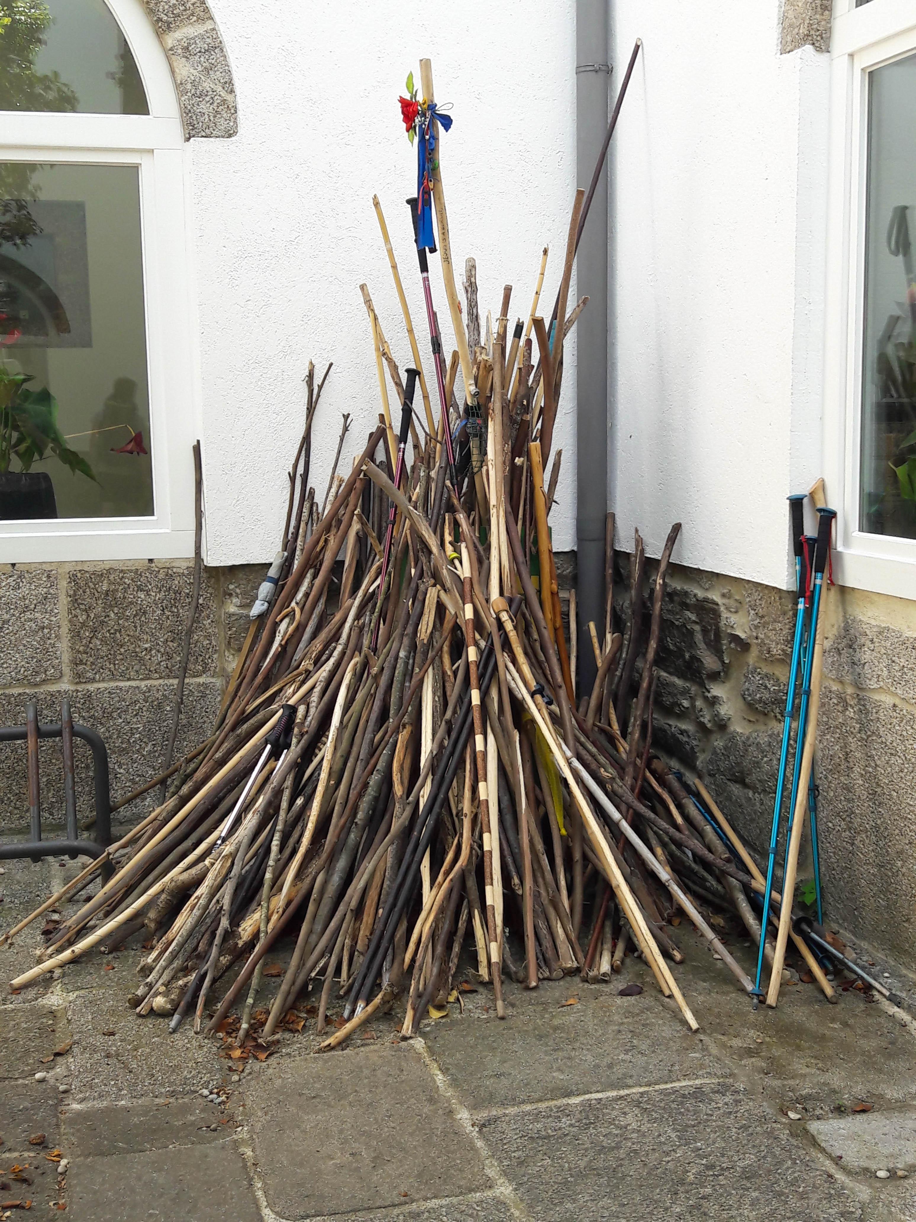 Pilgrims' discarded walking poles