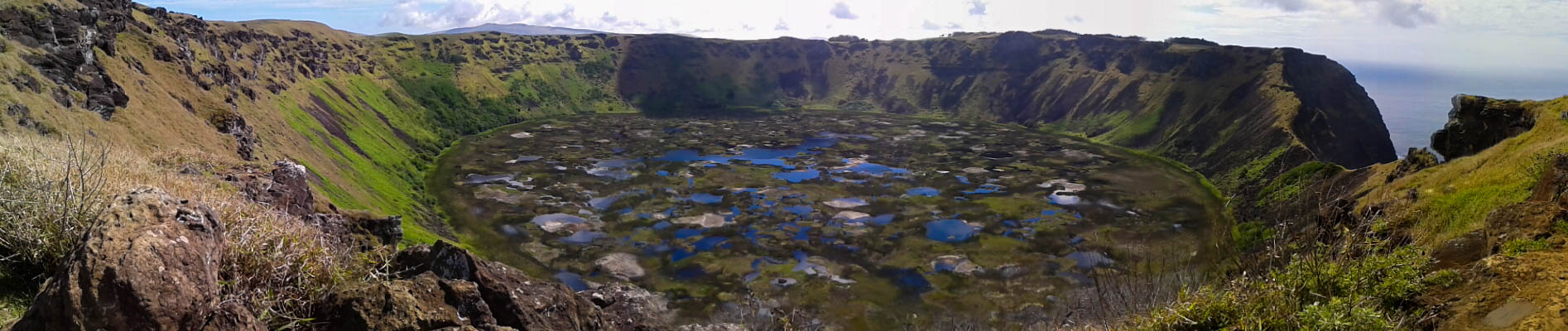 Rano Kau caldera lagoon panoramic