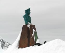 Captain Luis Pardo, saviour of Shackleton's men, with Chinstrap Penguins, Elephant Island