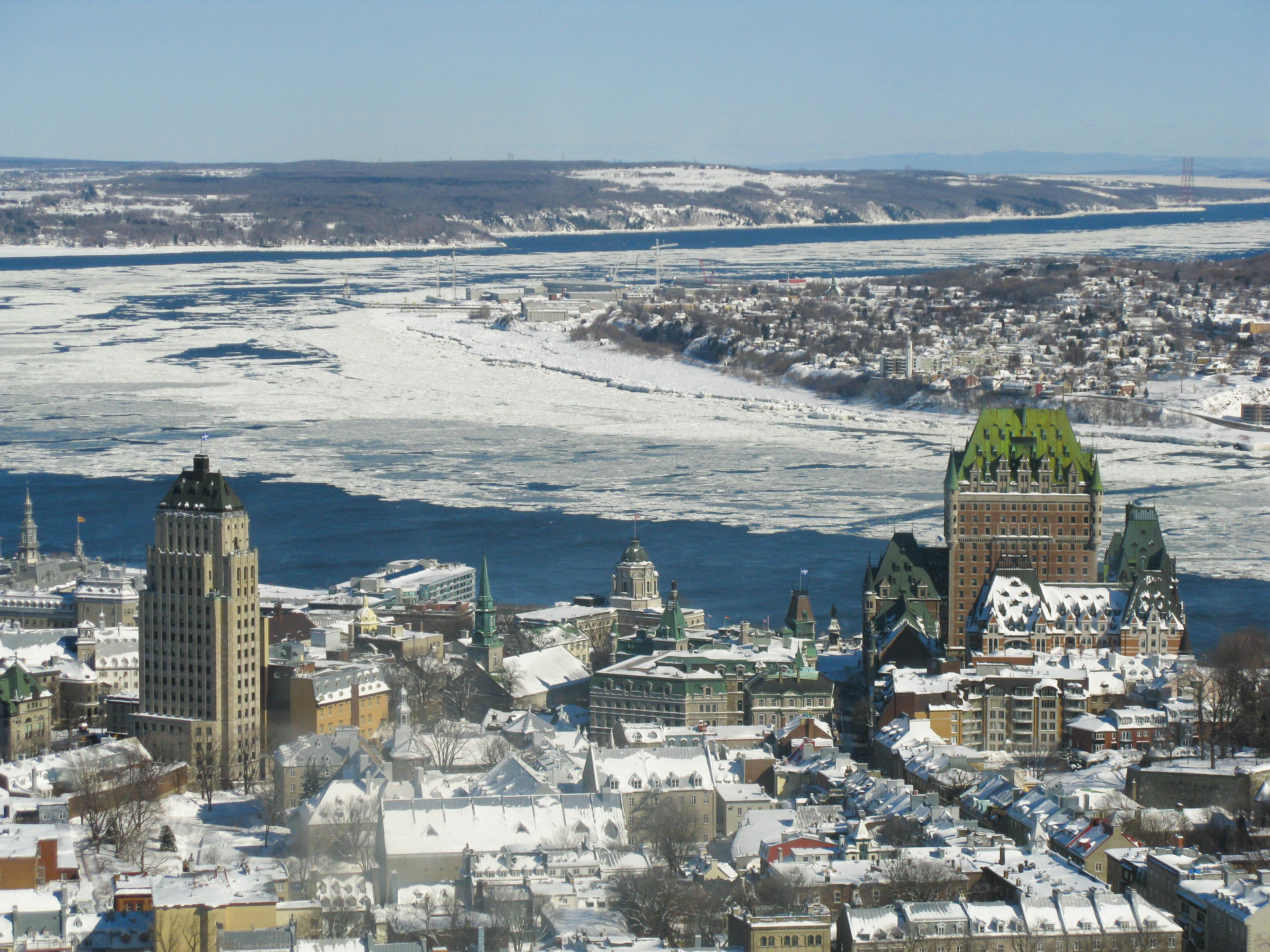 Québec City and the semi-frozen Saint Lawrence River