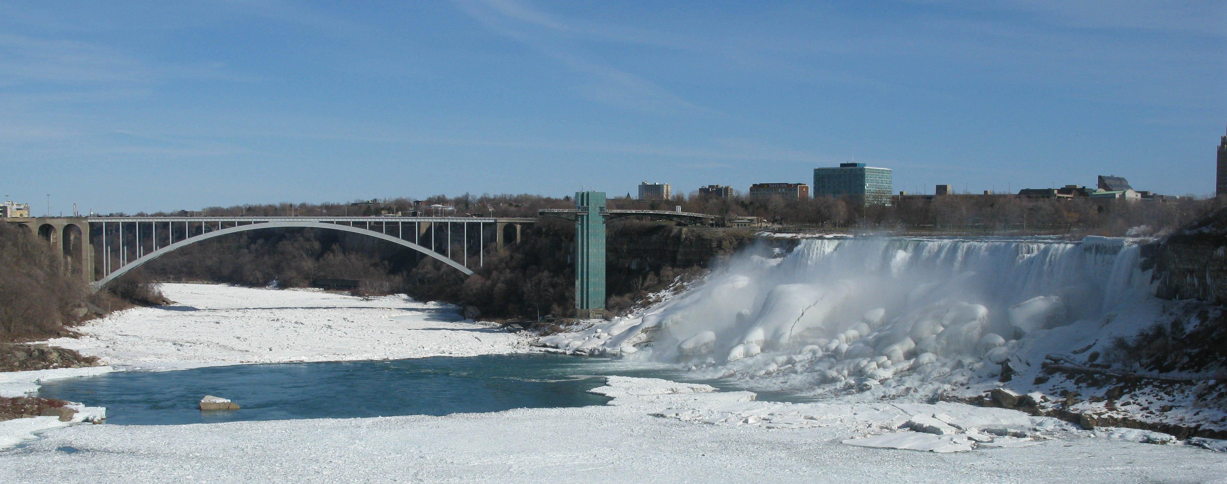 Frozen Niagara River and the American Falls