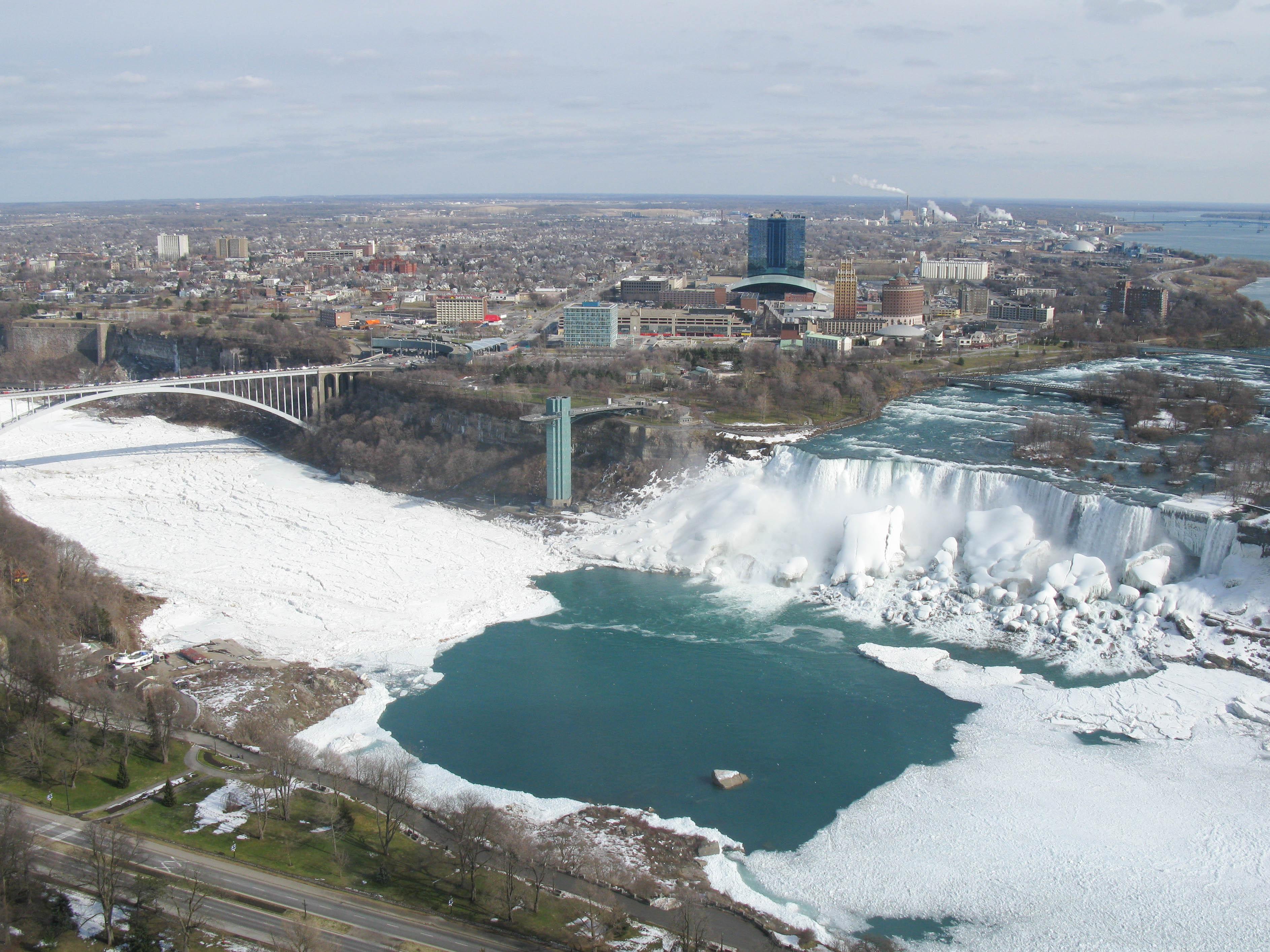 American Falls and the frozen Niagara River