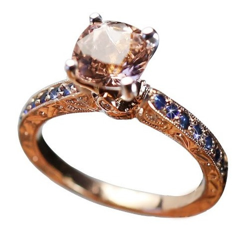 Rose Gold Sapphire and Morganite Engagement Ring