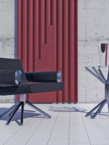 кресло и столик спэйс на белой стене 001