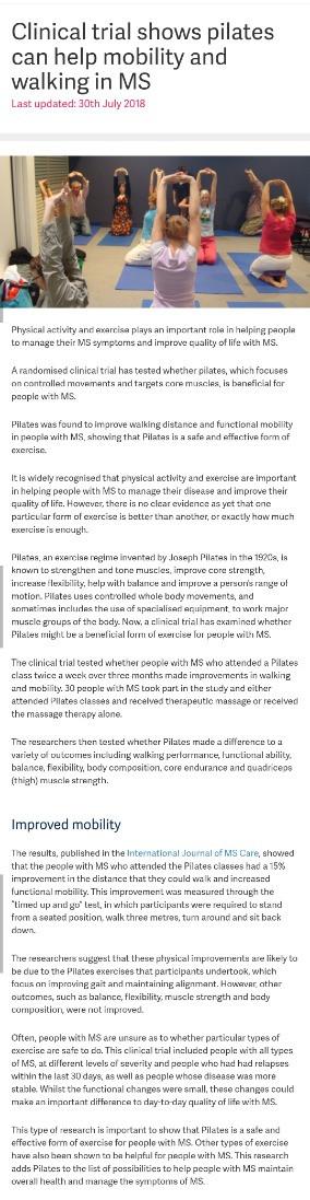 פילאטיס וטרשת נפוצה