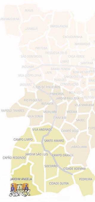 Mapa do distrito Jardim Ângela