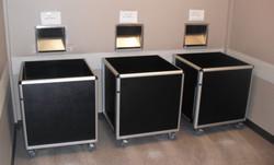 3 bins stationed under returns