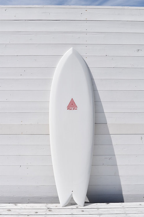 Fish 6'3 x 21 x 2'1/2 White Opaque Walnut Fin 002