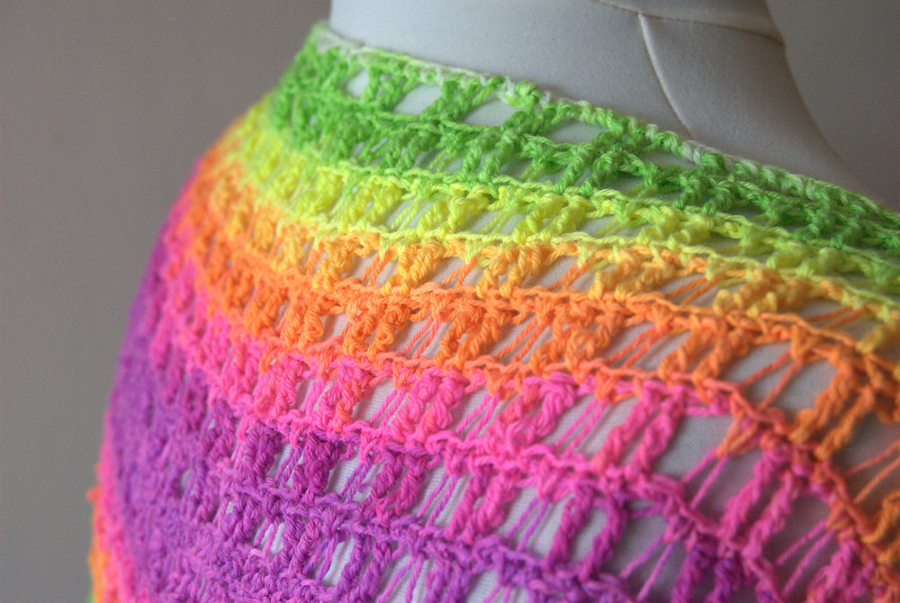 Club Tropicana crochet cowl with hand dyed yarn