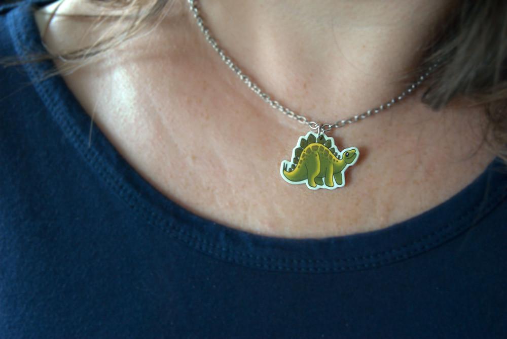 Dinosaur shrink plastic necklace
