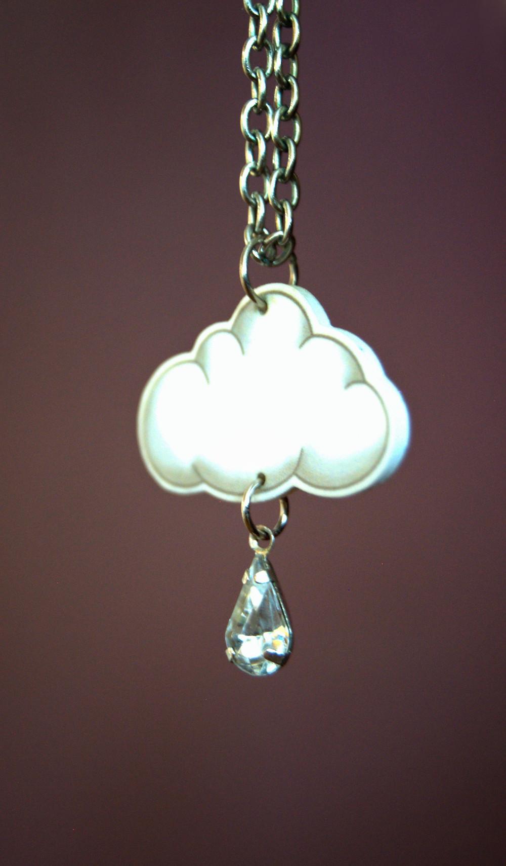Raincloud necklace with raindrop