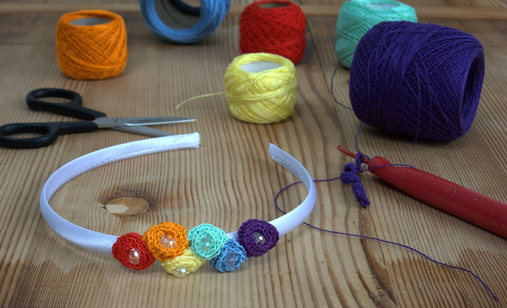 crochet rainbow hairband