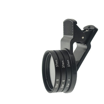 37mm Thread 4 / 6 / 8 Star Filter Effect Set with Universal Clip for Smartphone