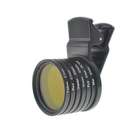37mm Thread Solid #3 Full Color Filter Lens with Universal Clip for Smartphone