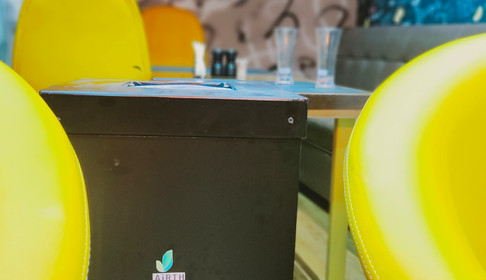 vRoom Antimicrobial Air Purifier installed at a restaurant